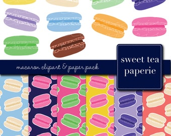 Buy2Get1Free with Code XMASINJULY! Macaron Clip Art & Paper Pack (Instant Download)