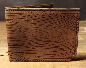 wallet - leather wallet - wood grain wallet - mens wallet- 008