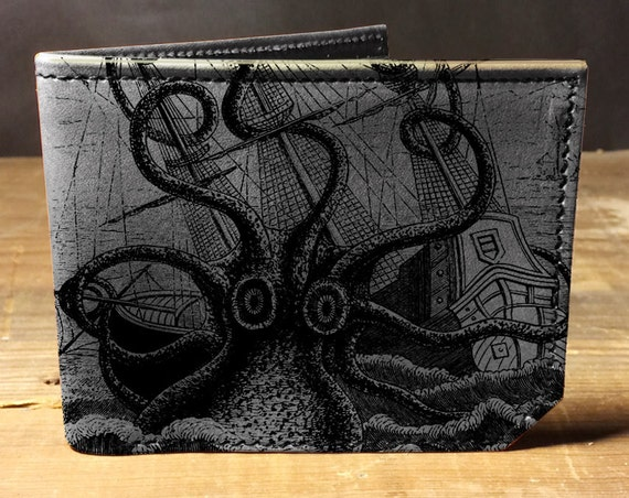 Leather wallet - cash and card wallet -octopus attacks - 001