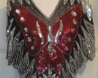 Vintage Red Black Sequin Butterfly Silk Top Valachi Creations B46