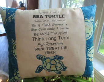Sea Turtle Pillow, Accent Pillow, Ocean Pillow, Beach Decor,  Appliqued Pillow, Free-Motion, Appliqued Sea Turtle Pillow
