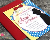 Snow White Birthday Party Invitations · A6 FLAT · Red Yellow Royal Blue · Fairy Tale | Princess | Magic Mirror | Baby Shower