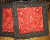 Quilted Pot Holders in a Southwest Orange Pattern - Set of 2