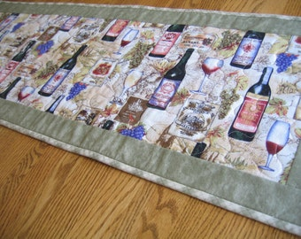 Quilted Table Runner in a Vineyard Pattern