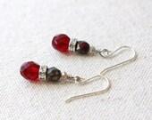 Red Stacked Rhinestone Earrings