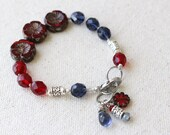 Red and Blue Hand Knotted Bracelet