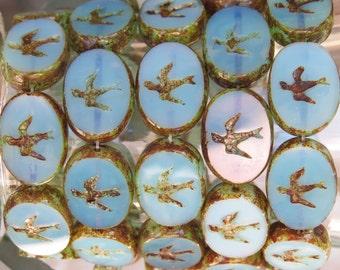 16x12mm Opaline Aqua Picasso Edged Table Cut Czech Glass Swallow Beads - Qty 6 (BS228)