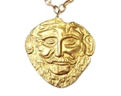 Agamemnon Pendant Necklace, Vintage Brass Coin Face Necklace, Massive Face Mask Brass Pendant Vintage Coin Necklace Ancient Greek Death Mask