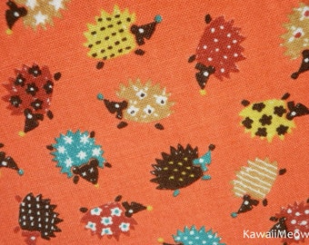 SALE - Cute Hedgehog on Orange Fat Quarter (i150710)