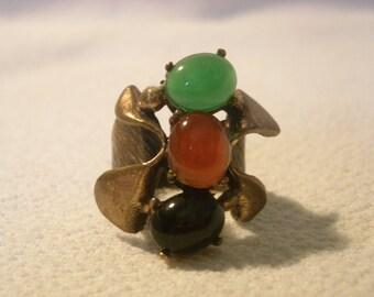 size 6 vintage copper gemstones ring  ( Y 76 )