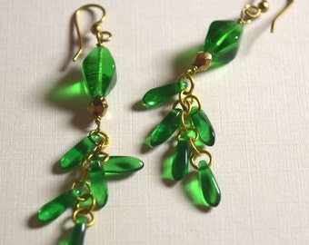 Grass green glass and brass cluster earrings in brass