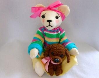 Handmade Teddy Bear with Sweater, Yellow Cotton Skirt, and Little Crochet Dog, Stuffed Animal, Canine, Best Friends
