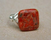 Red Sponge Coral Ring. To Order - Jewelry Rings - Cocktail Rings - Square Red Oxblood Terra Brick Tribal Ring - Red Ring - Stone Rings - Red