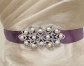 Wedding Dress Sash Purple Sash Bride Gold Silver Sash Bridal Sash Pearl Belt Pearl Belt Satin Ribbon  Rhinestone Pearl Applique Sash Buckle