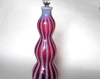 Fenton Glass Cranberry Opalescent Rib NEW WORLD Wine Bottle 1950's