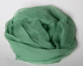"BEST SELER - Forest Green Silk Scarf - Silk Chiffon Gauze  - Photo prop, Infant wrap - Accessory - Wet Felting - 21"" x 84"""