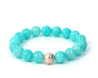 Blue Amazonite Bracelet . calming soothing stacking stretch beaded bracelet sterling silver turquoise blue
