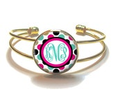 Monogram Bracelet, Pink Teal Black Gold Polka Dot Monogram Bangle, Monogram Jewelry, Bridesmaid Gift, Personalized Bracelet - Style 597