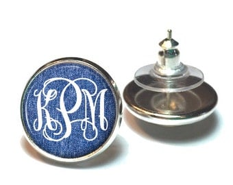 Monogram Earrings, Denim Monogram Stud Earrings, Personalized Monogram Jewelry (483)