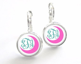 Crescent Moon Monogram Earrings Leverback, Bridesmaid Gift, Monogram Jewelry, Personalized Earrings, French Earrings (455)