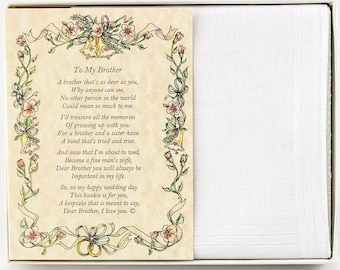 Personalized From the Bride to her Brother Wedding Handkerchief - BH106
