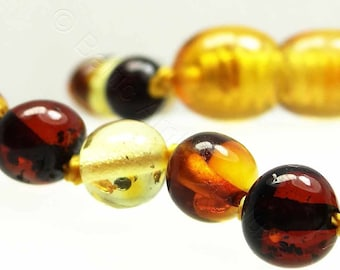 Multicolored amber teething necklace