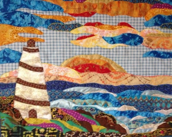Lighthouse Art Quilt, Lighthouse Art, Lighthouse Applique Quilt, Quilted Wall Hanging, Seascape Art, Fabric Art Lighthouse Quilt