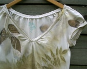Eco print tshirt hand dyed naturally dyed with plants