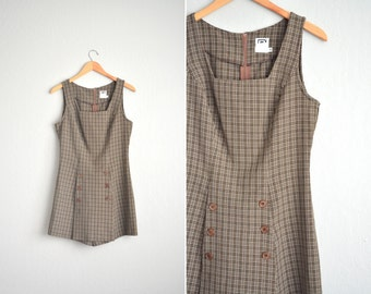 vintage '90s GRUNGE brown PLAID sleeveless double-breasted ROMPER. size m.