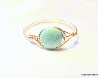 Turquoise and Copper Bangle, Copper Bangle, Stackable Bangle,Handcrafted Jewelry, Turquoise and Copper, Native Style, Boho Jewelry