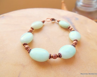 Amazonite and Copper Bracelet, Amazonite Jewelry, Copper Jewelry, Romantic Style, Handcrafted Jewelry