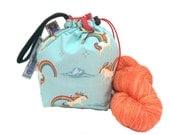Sock Knitting Project Bag Hexipuff Small Crochet WIP Bag - Unicorns & Rainbows