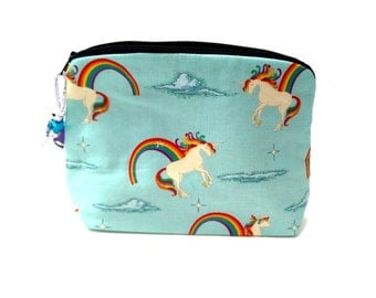 Zippered NOTIONS BAG with zipper pull - Unicorns & Rainbows