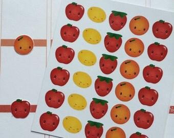 Planner Stickers 30 Kawaii Fruit Stickers Planner Stickers Fits Erin Condren Planner Plum Paper