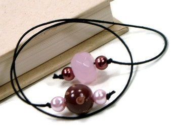 Pink Brown Beaded Bookmark Book Thong Book Cord String Bookmark Gift under 5 Book Club Teacher Gift