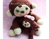 Instant Download Amigurumi Crochet PDF Pattern - Baby And Mom Monkey.