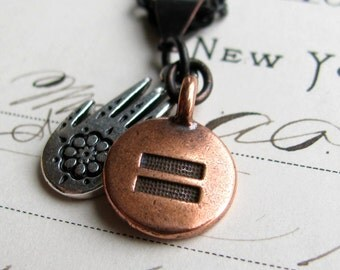 Hindu hand same sex, marriage equality necklace, silver pewter henna hand, copper charm, equal rights, LGBT jewelry, lesbian wedding, yoga