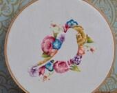 Flower & Bird Iron on Hand Embroidery Pattern