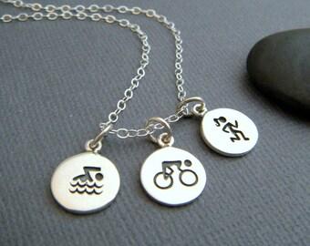 swim bike run symbol necklace. sterling triathlon pendant trio. triathalon charms. everyday. gift for triathlete girls women sports jewelry