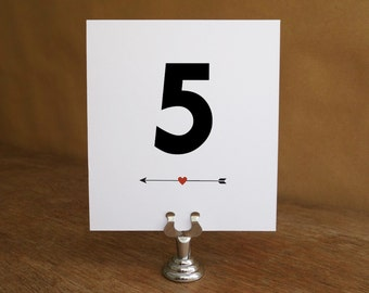 Printable Table Number - Table Number Template - Instant Download - Wedding Table Number PDF - Arrow & Heart Table Number - Black and Red