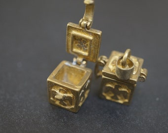 Authentic Vintage Stock Raw Brass Tiny Rectangular Magic Bird Eagle Chest Mini Charm Wish Box - 2 pcs - NO COUPON