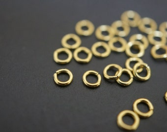 Very Small Sturdy Raw Brass Round Jump Rings - 3.5mm x 0.7mm Thick -100 pcs