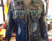 Crazy 80s Levis Western Jean Jacket Leather Fringe Lace Bleached Conchos Hearts Rocker Glam Retro Buckle Bunny Medium