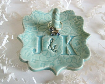 Couples custom ring dish,bride to be gift, ring holder, engagement gift for her, Bridal shower gift, Couple Engagement gift,