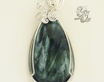 Seraphinite Tear Silver Wire Wrapped Pendant