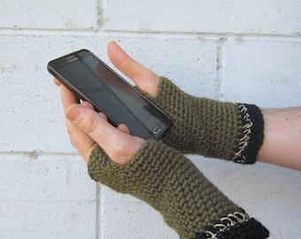 men's texting gloves/ olive drab wool n' hemp crochet