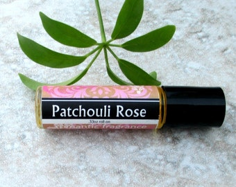 Patchouli Rose Roll On Perfume, classic sweet floral plus patchouli, concentrated vegan formula, natural handmade perfume oil
