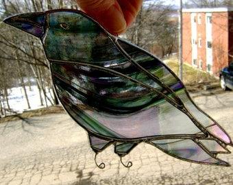 Crow Raven Stained Glass Birds Suncatchers Gothic Halloween Pagan Wicca Handmade in Canada Original Design©