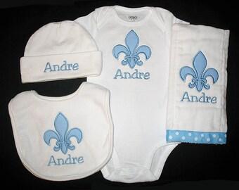 Custom Personalized Applique FLEUR de LIS and NAME Bodysuit, Bib, Burp Cloth, and Hat Set - Lt Blue