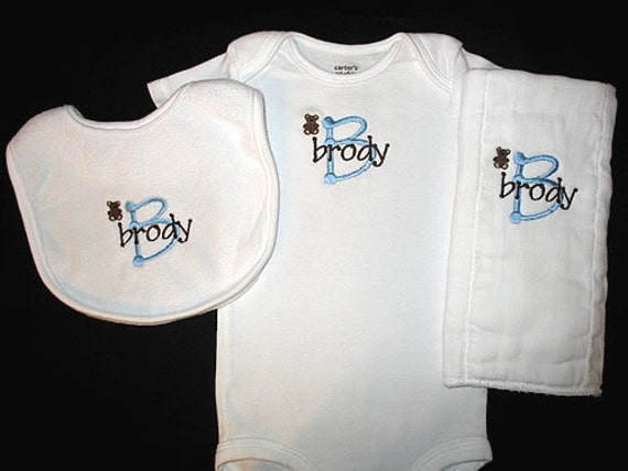 Design Your Own - Custom Personalized Bodysuit, Bib, and Burp Cloth Set - You Choose Colors, Font, and Mini Design - Baby Boy